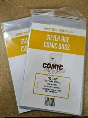 200 X SILVER AGE SIZE COMIC BAGS (COMIC CONCEPT) NEW • 10.98£