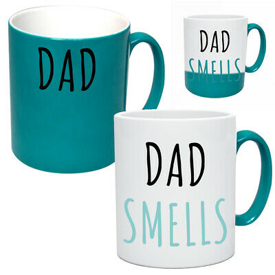 Funny Dad Smells Heat Changing Mug Gift Birthday Father Present Joke Rude Cup • 9.95£