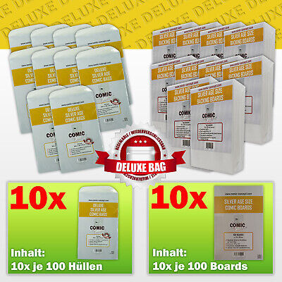 Comic Concept Sparpaket: 1000x Deluxe Silver Age Bags (selbstkl.) + Boards • 148.40£