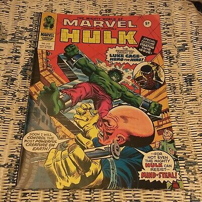 Marvel Comic The Mighty World Of Marvel Incredible Hulk Issue 212 1976 Luke Cage • 1.99£
