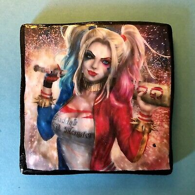 HARLEY QUINN Double Sided Slate Tile Hand Made Drinks Coaster - DC Suicide Squad • 1.99£