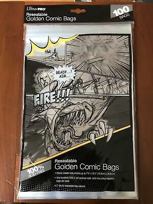 Ultra Pro Resealable Golden Comic Bags - 100 Bags - For Protecting Comics Safely • 3.20£