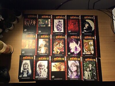 Battle Royale Manga 1-15 Complete Set (Rare And OOP) • 100£