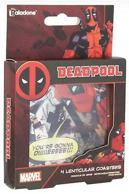 Set Of 4 Official Marvel Deadpool Lenticular Drinks Coasters • 6.99£