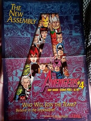 The Avengers #4 The New Assembly Original 1998 Marvel Comics Promotional Poster! • 0.99£