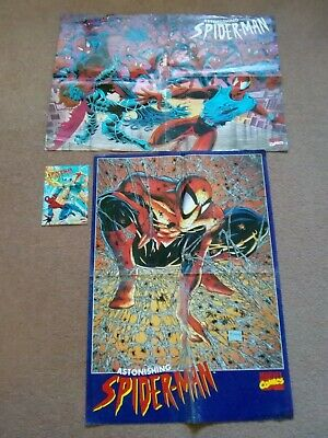 2 Astonishing SPIDER-MAN Fold-out Posters And 1 Postcard. Used. Marvel • 2.99£