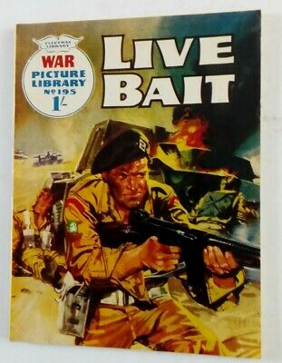 No 195 Live Bait War Picture Library Comic By Fleetway • 3£