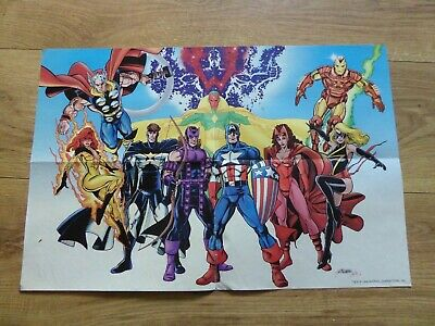 Avengers By George Perez 1998 Comic Book Fold Out Poster Cap, Thor, Iron Man Etc • 0.99£