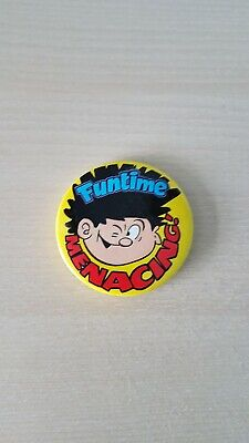 Beano Dennis The Menace Funtime Menacing Pin Badge Excellent Condition • 0.99£