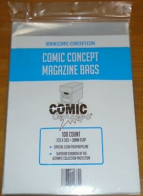 100 X COMIC CONCEPT MAGAZINE BAGS CRYSTAL CLEAR POLYPROPYLENE SUPERIOR STRENGTH • 24.99£