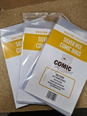 300 X SILVER AGE SIZE COMIC BAGS (COMIC CONCEPT)(POLYPROPYLENE) • 18.99£