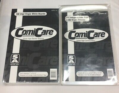 100 X Silver Age Size Polypropylene Comic Bags & Boards (110/116) • 13.99£