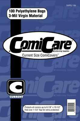 100 Current Age Polyethylene Comic Bags (free Uk Shipping) Comicare Supply105 • 5.49£