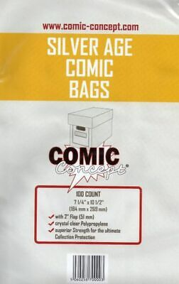 100 X SILVER AGE SIZE COMIC BAGS (COMIC CONCEPT)(POLYPROPYLENE) • 6.99£