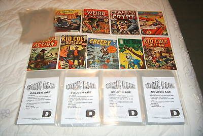 100 X RESEALABLE GOLDEN AGE SIZE COMIC BAGS. TO FIT U.S. COMICS PRE-1960 • 4.50£