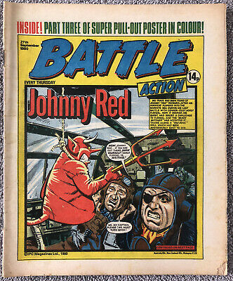 BATTLE ACTION Comic - 27th September 1980. British War Weekly IPC. Charley's War • 1.99£