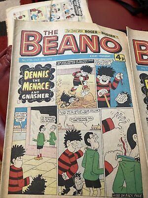 7x 1975 The Beano Comic  Vintage Collection UK Comics  Bundle DENNIS THE MENACE • 10£