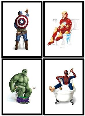 SET OF 4 A4 Glossy Prints - SUPER HERO BATHROOM TOILET Gift Idea MUST SEE • 9.99£