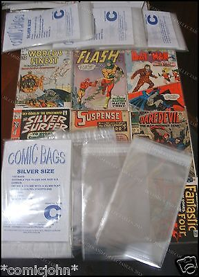 PACK OF 100 X RESEALABLE SILVER AGE SIZE POLYPROPYLENE COMIC BAGS.  SIZE C • 4.99£