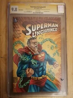 Superman Unchained #9 CGC SS 9.8. Signed & Sketched By Savy Lim. Clrd By... • 150£