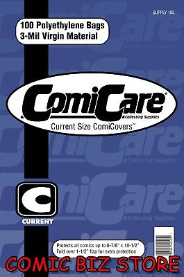 100 X CURRENT SIZE PE COMIC COMICARE BAGS 6 7/8  X 10 1/2   -  IN STOCK • 6.99£