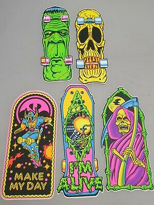 5x Vintage Skateboard Aufkleber Sticker Mit Monster Fantasy Skeleton Comic Motiv • 22.70£