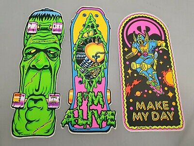 3x Skateboard Aufkleber Mit Monster, Fantasy & Comic Motiv Vintage Sticker 1990 • 14.50£