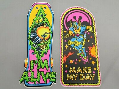 2x Skateboard Aufkleber: Fantasy  I'm Alive  & Comic Space Boarder Motiv Sticker • 10.85£