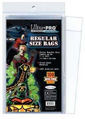 100 Pockets Ultra Pro Comics Regular Size Bags 17,70 X 26,30 Cm Comic AW2632 • 17.62£