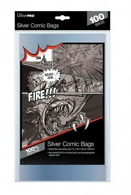100 Pockets Ultra Pro Comics Silver Size Bags 184 X 266 MM 81976 • 17.59£