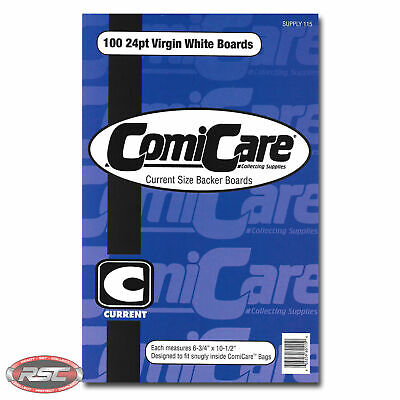 100 - ComiCare Current 24pt Bright White Comic Backer Boards - 6-3/4  X 10-1/2  • 14.99£