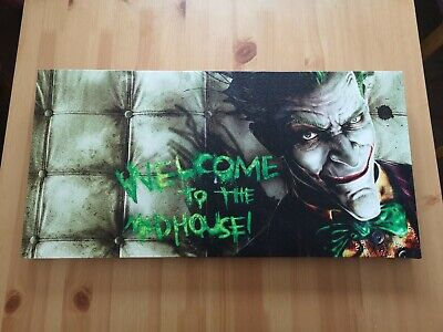 The Joker, Welcome To The Madhouse. Canvas Art • 2.50£