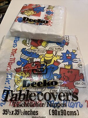 Mr Men And Little Miss Paper Table Cloth And Napkins Vintage 1970s 1980s Deeko • 5£