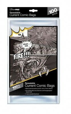 100 Pockets Ultra Pro Resealable Current Comic Size Bags 174 X 266 MM 82225 • 18.63£