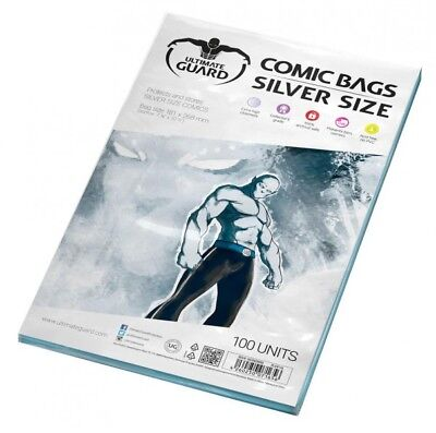 Ultimate Guard Pack 100 Pockets Comics Silver Size 181x268 MM Comic Bags 71656 • 17.59£