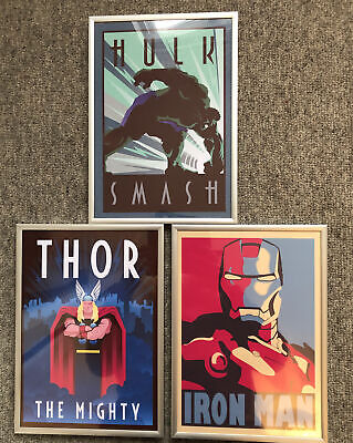 3 Classic Marvel A4 Posters - Framed - Hulk, Iron Man, Thor • 3£