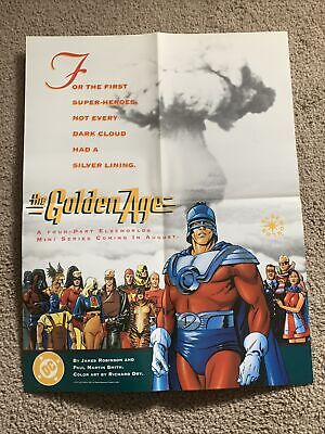 DC ELSEWORLDS The Golden Age Promo Poster 1993 - 22x17 Folded Rare!! Comic Shop • 25.03£