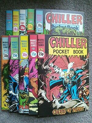 UK CHILLER POCKET BOOK (1980) / JOB LOT / 10 X VARIOUS ISSUES. • 19.99£
