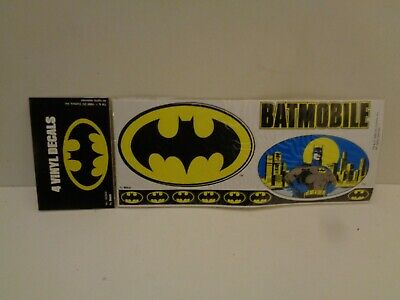 Vintage  4 VINYL DECALS BATMNAN 1989 DC COMICS In Originalverpackung • 5.20£