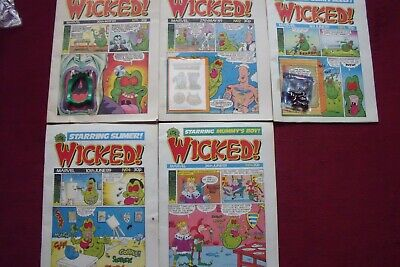 'It's Wicked' Comics 5 Issues, Issues 1-3 With Free Gifts Marvel 1989 Slimer • 30£