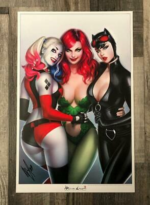 Sirens Print Signed By Warren Louw Art Lithograph Dc Harley Quinn Catwoman Ivy • 30£