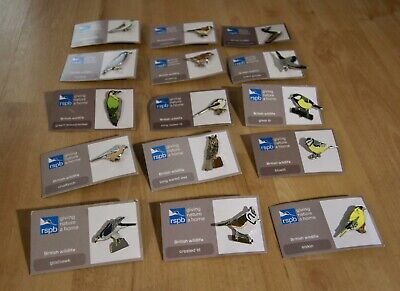 JOB LOT - 15 Collectable RSPB-Pin Badges *On Backing Cards • 13.50£