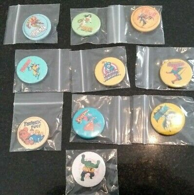 Set Of 10 Superhero Badges (marvel / Dc Comics / Wolverine Hulk Fantastic Four) • 4.99£
