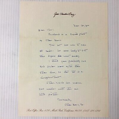 JOAN BAEZ SR.TERRIFIC LETTER ON JOAN'S STATIONARY Mentioning BOB DYLAN PC1050 • 39.33£