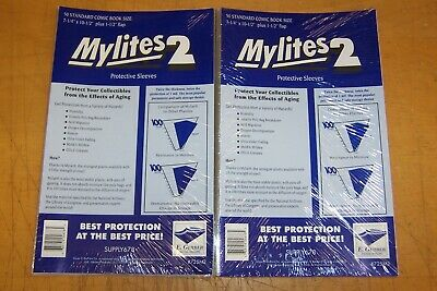 MYLITES 2 STANDARD SIZE (#725M2) X 100 COMIC SLEEVES (2 PACKS OF 50) • 42.95£