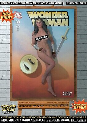 Wonder Woman NUDE 'Cover Girls' Sexy NEW Signed A3 Comic Print DC Gal Gadot 1984 • 9.95£