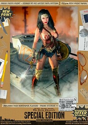 Wonder Woman SEXY NEW 'Justice Served' Signed A3 Comic Print DC Gal Gadot 1984 • 9.95£