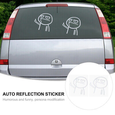 2Pcs Car Decal Automobile Sticker Middle Finger Sticker Car Body Sticker • 3.83£