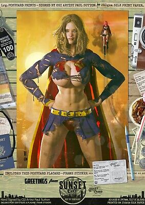Supergirl SEXY 'Sunset City' Signed DC Comic A3 Print Superman Ripped 'N' Torn • 9.95£