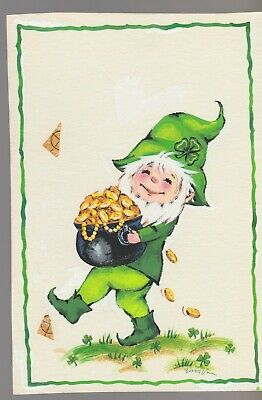 LEPRECHAUN WITH POT OF GOLD 4.5x6.5  #7811 St Patrick's Day Greeting Card Art • 50.32£